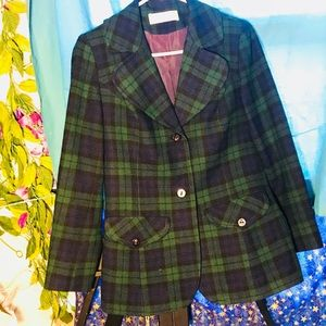 Pendleton Plaid Blazer Coat blue and green